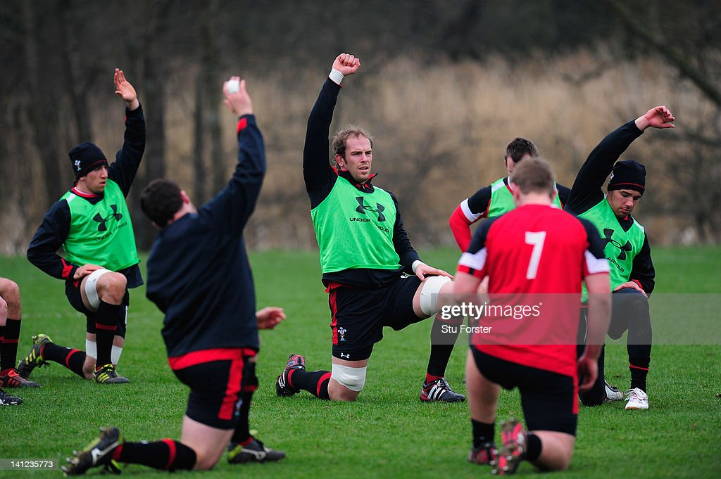 Wales player Alun- Wyn Jones (c) warms up with team mates during Wales training at the Vale hotel ahead of this saturdays final RBS Six Nations game against France on March 13, 2012 in Cardiff, Wales.