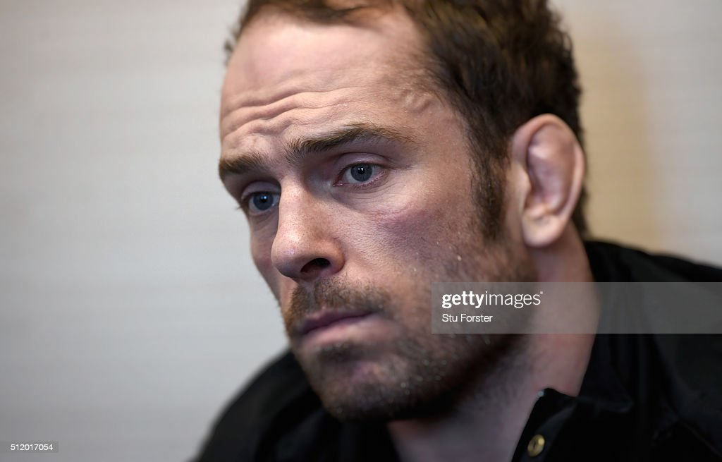 Wales player Alun Wyn-Jones faces the media during a Wales Press conference ahead of their RBS Six Nations match against France, at The Vale Hotel on February 24, 2016 in Cardiff, Wales.