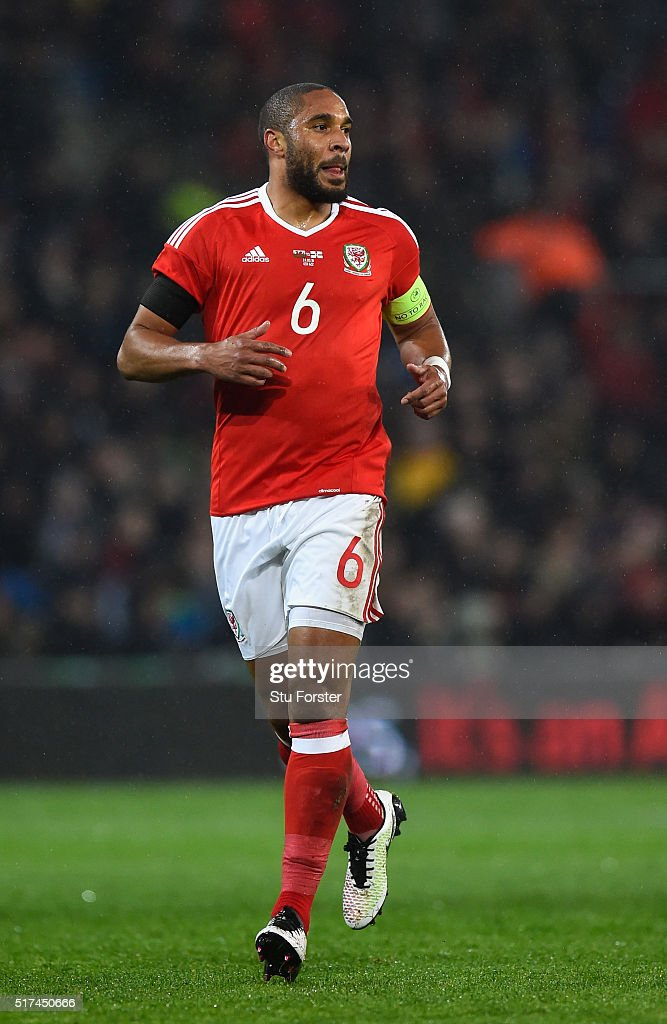 Wales player <a gi-track='captionPersonalityLinkClicked' href=/galleries/search?phrase=Ashley+Williams+-+Soccer+Player&family=editorial&specificpeople=13495389 ng-click='$event.stopPropagation()'>Ashley Williams</a> in action during the International friendly match between Wales and Northern Ireland at Cardiff City Stadium on March 24, 2016 in Cardiff, Wales.