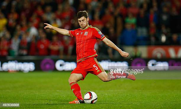 Wales player Ben Davies in action during the UEFA EURO 2016 Group B Qualifier between Wales and Andorra at Cardiff City stadium on October 13 2015 in...