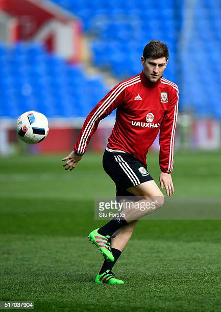Wales player Ben Davies in action during Wales training ahead of their match against Northern Ireland at Cardiff City Stadium on March 23 2016 in...