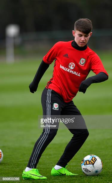 Wales player Ben Woodburn in action during a Wales Open Training session ahead of their World Cup Qualifier against the Republic of Ireland at the...
