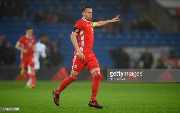 Wales player Chris Gunter in action during the International Friendly match between Wales and Panama at Cardiff City Stadium on November 14 2017 in...