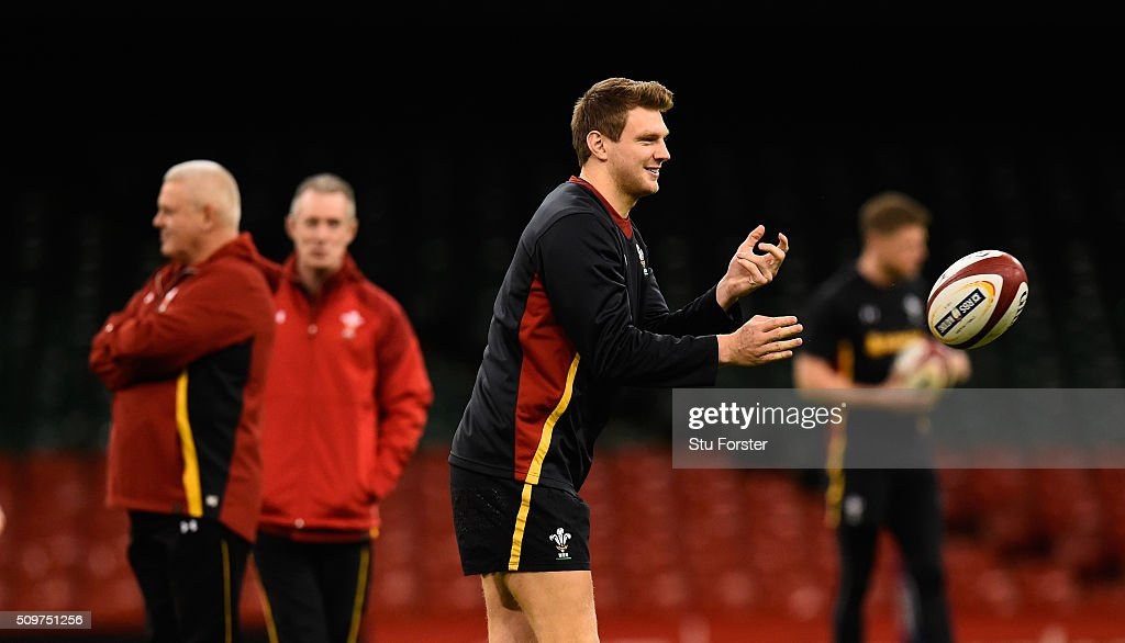 Wales player Dan Biggar in action during the Wales Captains run ahead of their RBS Six Nations match against Scotland at Principality Stadium on...