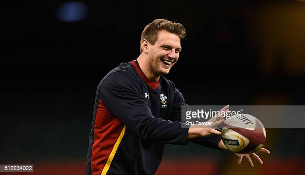 Wales player Dan Biggar in action during the Wales captain's run ahead of their RBS Six Nations match against France at Principality Stadium on...