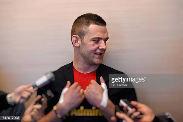Wales player Dan Lydiate faces the media during a Wales Press conference ahead of their RBS Six Nations match against France at The Vale Hotel on...
