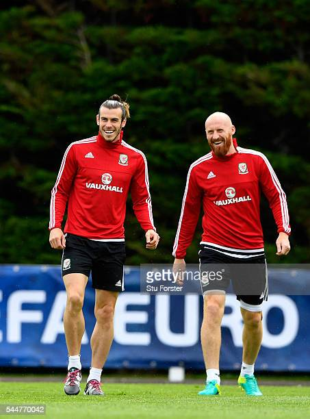 Wales player Gareth Bale and James Collins share a joke during Wales training ahead of their UEFA Euro 2016 semi final against Portugal at College Le...