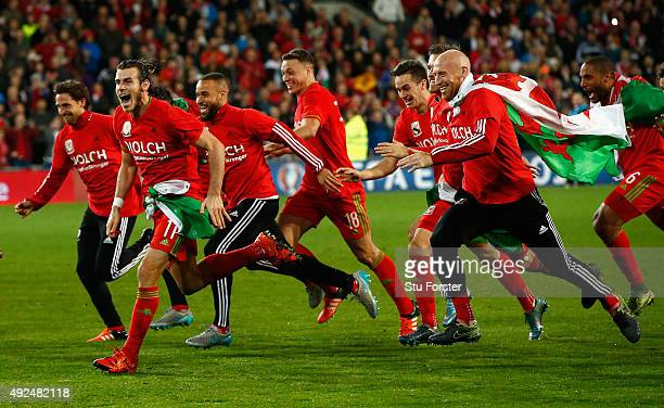 Wales player Gareth Bale and team mates celebrate after the UEFA EURO 2016 Group B Qualifier between Wales and Andorra at Cardiff City stadium on...