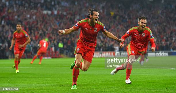 Wales player Gareth Bale celebrates after scoring the opening goal during the UEFA EURO Group B 2016 Qualifier between Wales and Belguim at Cardiff...