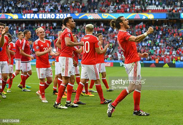 Wales player Gareth Bale celebrates after the Round of 16 UEFA Euro 2016 match between Wales and Northern Ireland at Parc des Princes on June 25 2016...