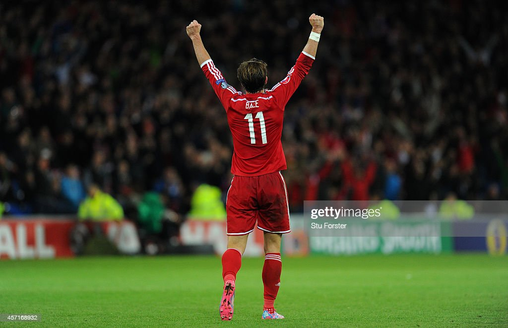 Wales player Gareth Bale celebrates on the final whistle during the EURO 2016 Qualifier match between Wales and Cyprus at Cardiff City Stadium on...