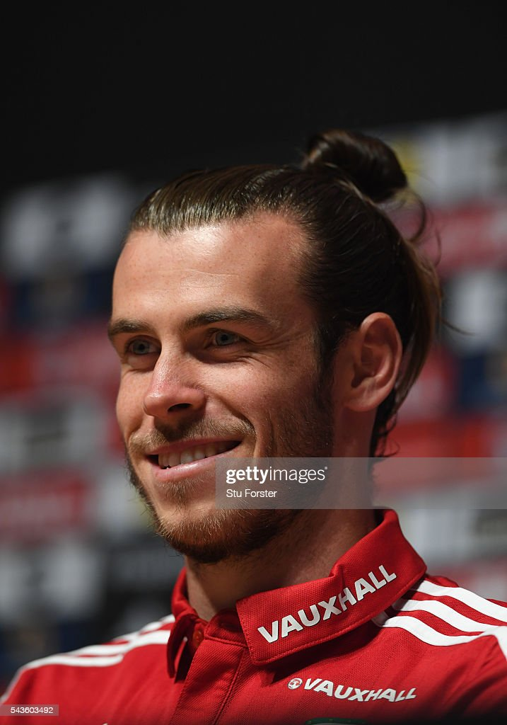 Wales player Gareth Bale faces the media at the Wales Press conference ahead of their quarter final match against Belguim at their Dinard training camp on June 29, 2016 in Dinard, France.