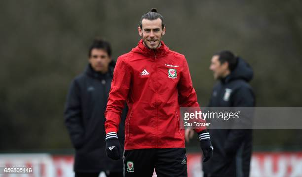 Wales player Gareth Bale in action during a Wales Open Training session ahead of their World Cup Qualifier against the Republic of Ireland at the...