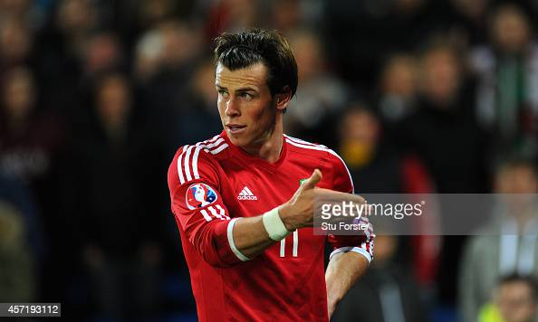 Wales player Gareth Bale in action during the EURO 2016 Qualifier match between Wales and Cyprus at Cardiff City Stadium on October 13 2014 in...