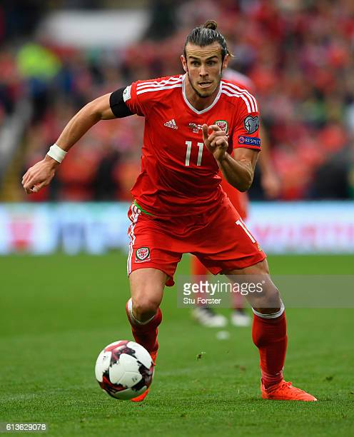 Wales player Gareth Bale in action during the FIFA 2018 World Cup Qualifier between Wales and Georgia at Cardiff City Stadium on October 9 2016 in...
