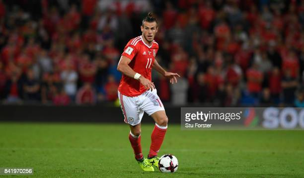 Wales player Gareth Bale in action during the FIFA 2018 World Cup Qualifier between Wales and Austria at Cardiff City Stadium on September 2 2017 in...
