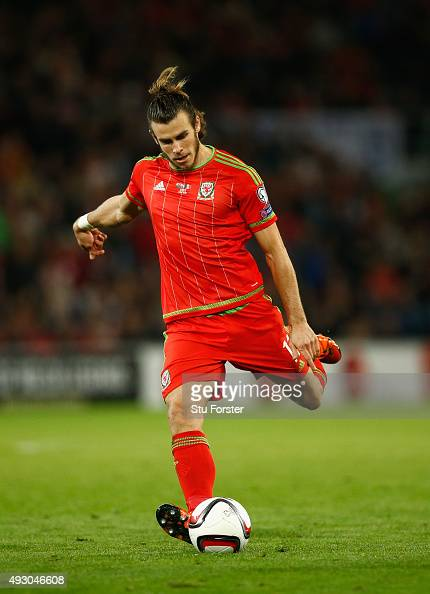 Wales player Gareth Bale in action during the UEFA EURO 2016 Group B Qualifier between Wales and Andorra at Cardiff City stadium on October 13 2015...