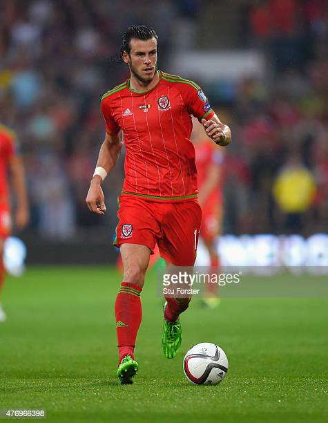Wales player Gareth Bale in action during the UEFA EURO Group B 2016 Qualifier between Wales and Belguim at Cardiff City stadium on June 12 2015 in...