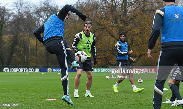 Wales player Gareth Bale in action during Wales football training ahead of tomorrow's UEFA Euro 2016 qualifying match against Belguim on November 15...