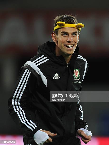 Wales player Gareth Bale in action wearing a set of Pudsey ears as part of the BBC Children In Need Charity campaign during Wales training ahead of...