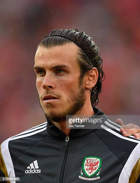 Wales player Gareth Bale looks on before the UEFA EURO Group B 2016 Qualifier between Wales and Belguim at Cardiff City stadium on June 12 2015 in...