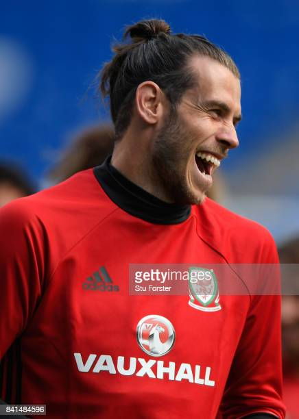 Wales player Gareth Bale reacts during Wales training ahead of their FIFA 2018 World Cup Qualifier against Austria at Cardiff City Stadium on...