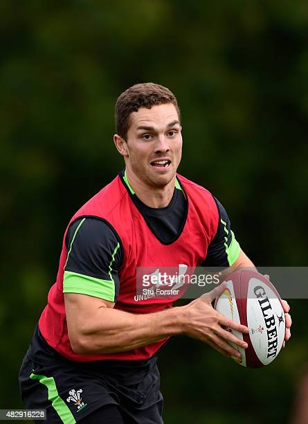Wales player George North in action during Wales training ahead of saturdays World cup warm up match against Ireland at the Vale Hotel on August 4...