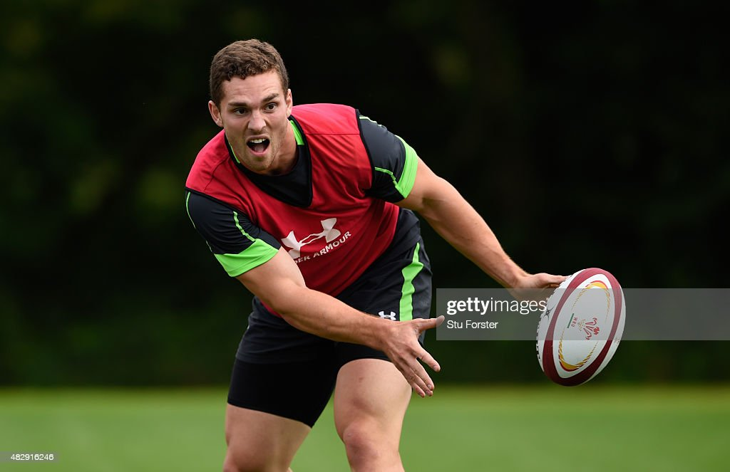 Wales player <a gi-track='captionPersonalityLinkClicked' href=/galleries/search?phrase=George+North&family=editorial&specificpeople=7320853 ng-click='$event.stopPropagation()'>George North</a> in action during Wales training ahead of saturdays World cup warm up match against Ireland at the Vale Hotel on August 4, 2015 in Cardiff, Wales.