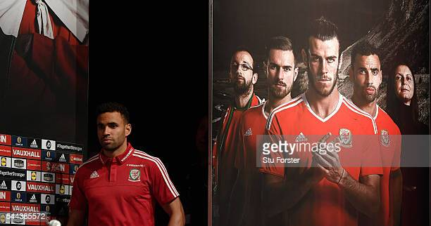 Wales player Hal RobsonKanu faces the media at the Wales press conference ahead of their Euro 2016 semi final against Portugal at their Dinard base...
