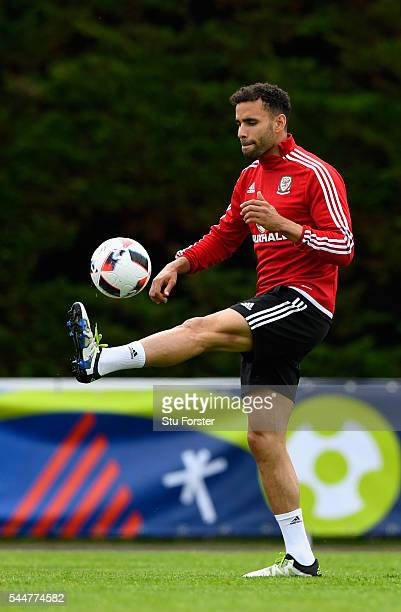 Wales player Hal RobsonKanu in action during Wales training ahead of their UEFA Euro 2016 semi final against Portugal at College Le Bocage on July 4...