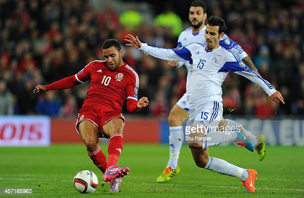 Wales player Hal RobsonKanu scores the second Wales goal during the EURO 2016 Qualifier match between Wales and Cyprus at Cardiff City Stadium on...