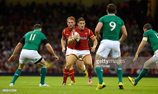 Wales player Hallam Amos in action during the Rugby World Cup warm up match between Wales and Ireland at Millennium Stadium on August 8 2015 in...