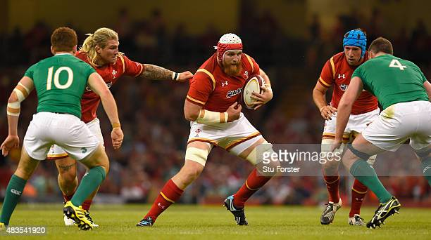 Wales player Jake Ball in action during the Rugby World Cup warm up match between Wales and Ireland at Millennium Stadium on August 8 2015 in Cardiff...