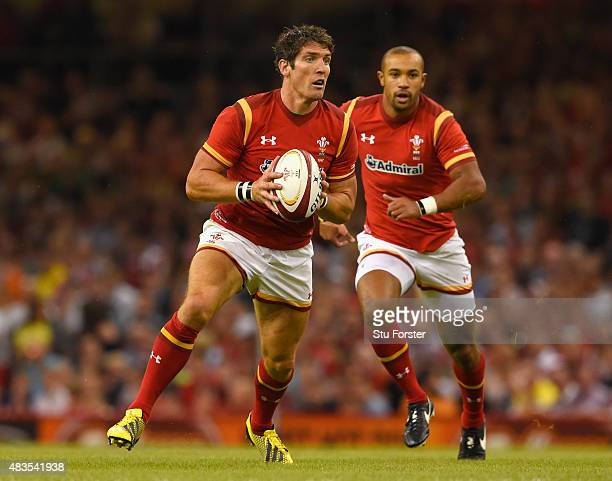 Wales player James Hook in action during the Rugby World Cup warm up match between Wales and Ireland at Millennium Stadium on August 8 2015 in...