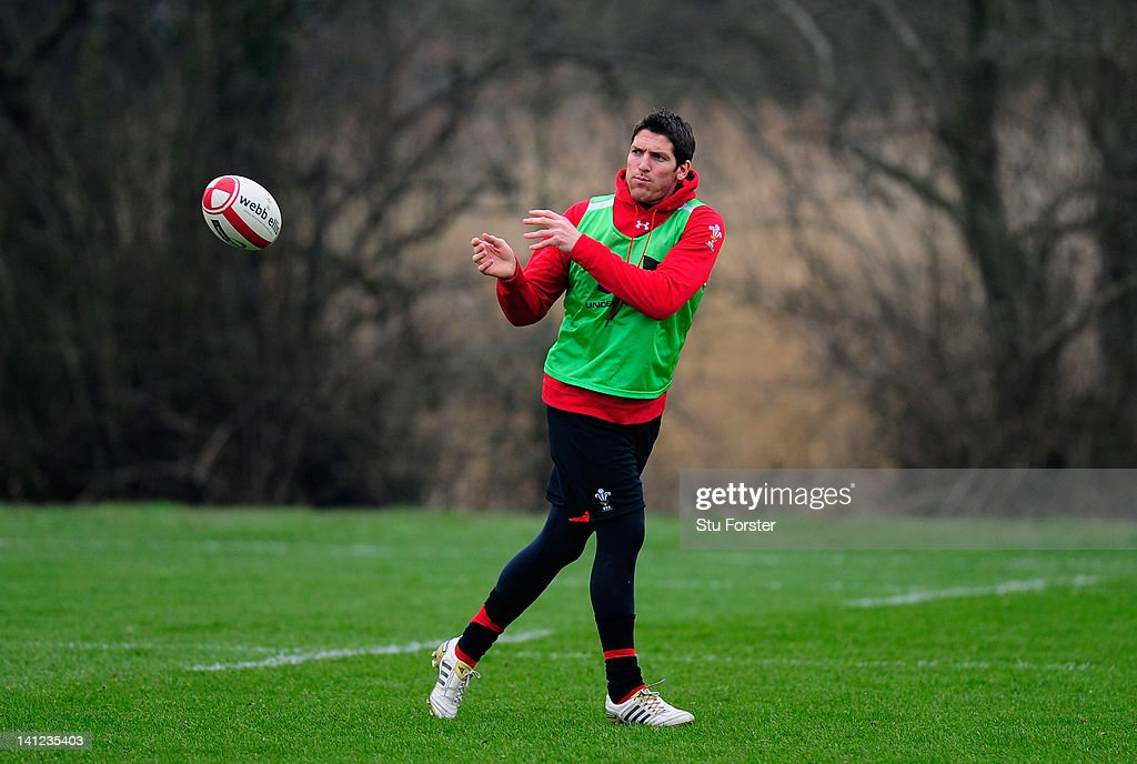 Wales player <a gi-track='captionPersonalityLinkClicked' href=/galleries/search?phrase=James+Hook&family=editorial&specificpeople=710391 ng-click='$event.stopPropagation()'>James Hook</a> in action during Wales training at the Vale hotel ahead of this saturdays final RBS Six Nations game against France on March 13, 2012 in Cardiff, Wales.