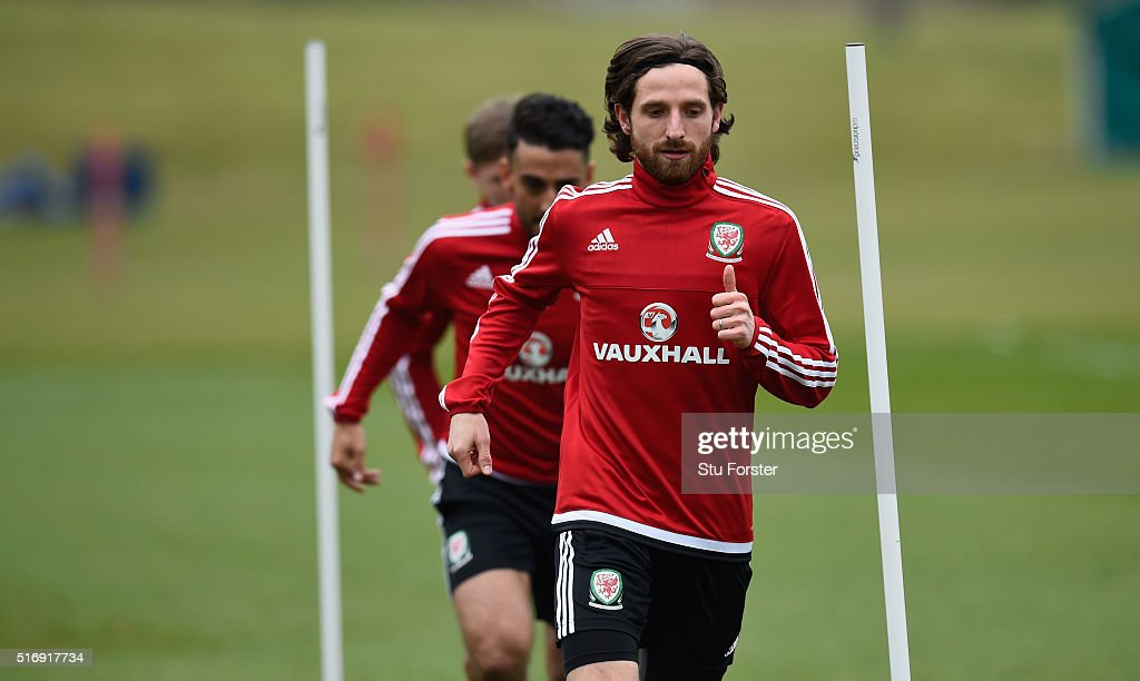 Wales player <a gi-track='captionPersonalityLinkClicked' href=/galleries/search?phrase=Joe+Allen+-+Welsh+Soccer+Player&family=editorial&specificpeople=9629091 ng-click='$event.stopPropagation()'>Joe Allen</a> in action during Wales training ahead of their match against Northern Ireland at the Vale on March 22, 2016 in Cardiff, United Kingdom.