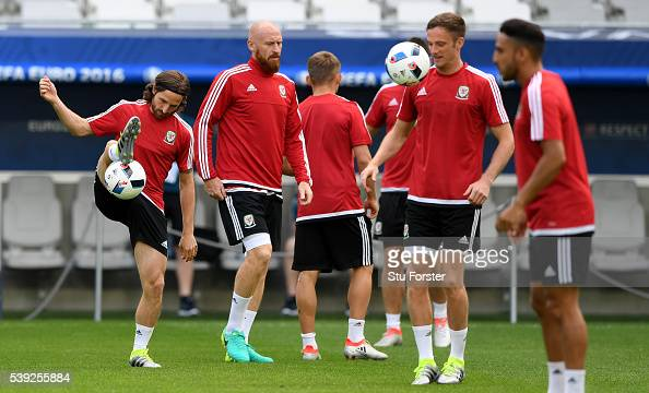 Wales player Joe Allen in action during Wales training at Nouveau Stade de Bordeaux ahead of their opening Euro 2016 match against Slovakia on June...