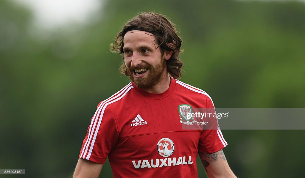 Wales player <a gi-track='captionPersonalityLinkClicked' href=/galleries/search?phrase=Joe+Allen+-+Welsh+Soccer+Player&family=editorial&specificpeople=9629091 ng-click='$event.stopPropagation()'>Joe Allen</a> in action during Wales training at the Vale hotel complex on June 1, 2016 in Cardiff, Wales.