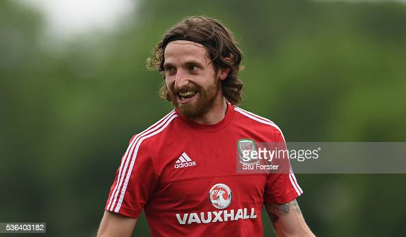 Wales player Joe Allen in action during Wales training at the Vale hotel complex on June 1 2016 in Cardiff Wales