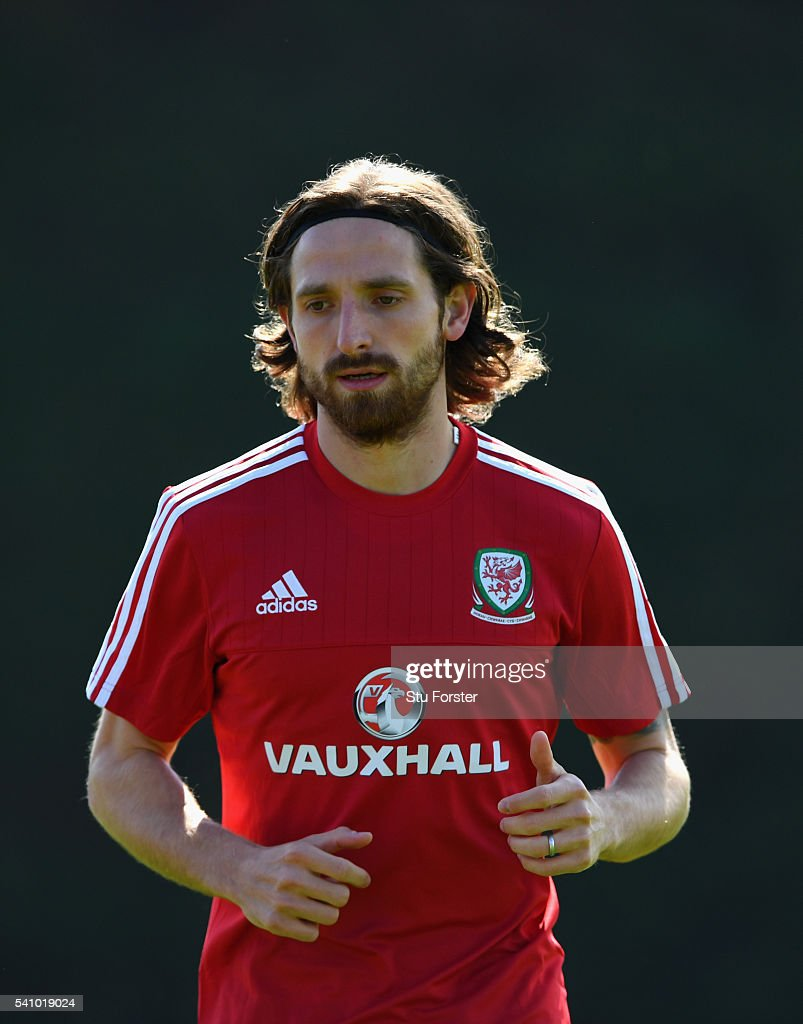 Wales player Joe Allen in action during Wales training at their Euro 2016 basecamp on June 18 2016 in Dinard France