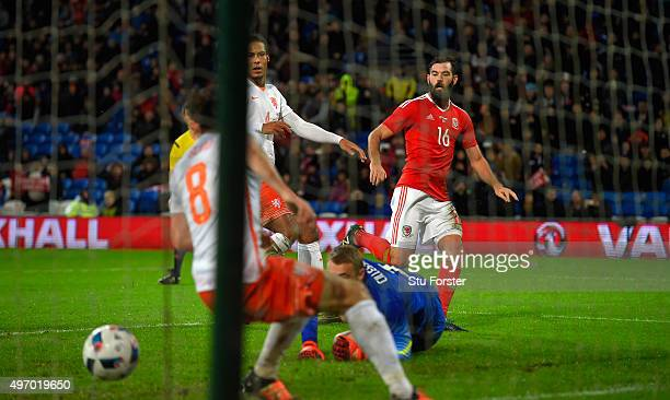 Wales player Joe Ledley scores the first Wales goal during the friendly International match between Wales and Netherlands at Cardiff City Stadium on...
