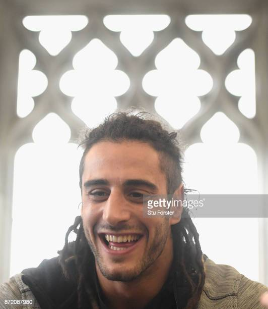 Wales player Josh Navidi faces the media during Wales Media access ahead of their match against the Australian Wallabies at the Hensol Castle on...