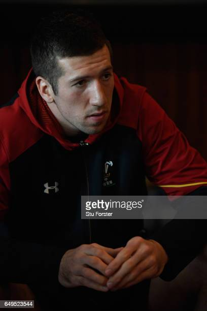 Wales player Justin Tipuric faces the media ahead of the RBS Six Nations match against Ireland at the Vale Hotel on March 8 2017 in Cardiff Wales