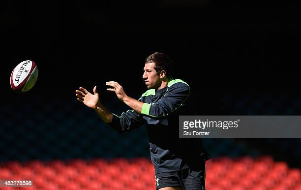 Wales player Justin Tipuric in action during Wales training ahead of saturday's World Cup warm up match against Ireland at Millenium Stadium on...