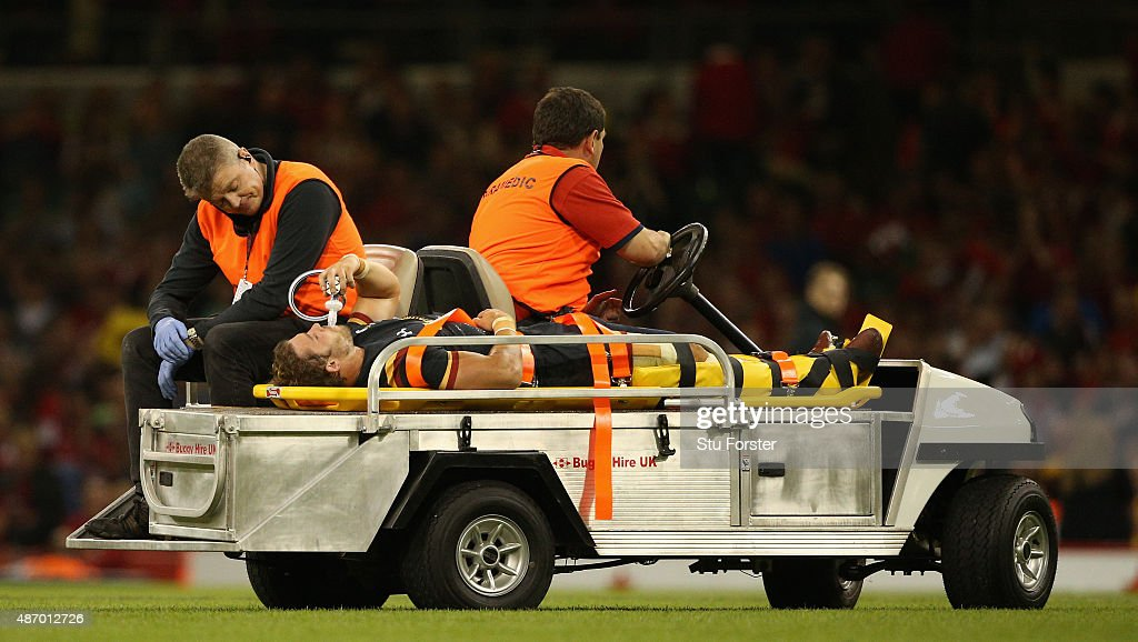 Wales player <a gi-track='captionPersonalityLinkClicked' href=/galleries/search?phrase=Leigh+Halfpenny&family=editorial&specificpeople=4232760 ng-click='$event.stopPropagation()'>Leigh Halfpenny</a> is stretchered off during the International match between Wales and Ireland at Millennium Stadium on September 5, 2015 in Cardiff, Wales.