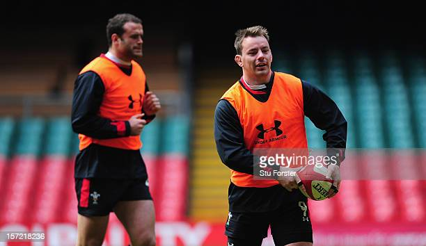 Wales player Matthew Rees in action as Jamie Roberts looks on during the Wales Captain's Run ahead of Saturdays game against the Australian Wallabies...