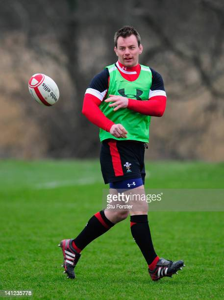 Wales player Matthew Rees in action during Wales training at the Vale hotel ahead of this saturdays final RBS Six Nations game against France on...