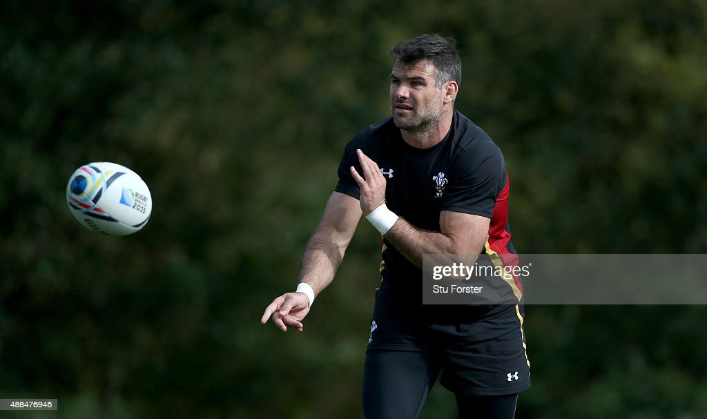 Wales player <a gi-track='captionPersonalityLinkClicked' href=/galleries/search?phrase=Mike+Phillips+-+Rugby+Player&family=editorial&specificpeople=4527917 ng-click='$event.stopPropagation()'>Mike Phillips</a> in action during a Wales training session at the Vale hotel on September 16, 2015 in Cardiff, United Kingdom.