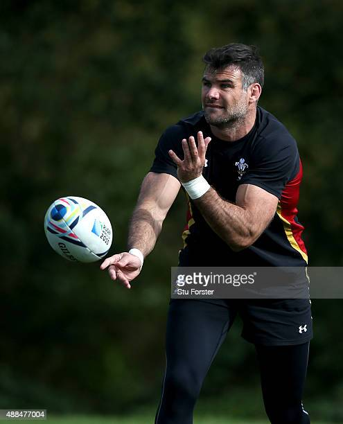 Wales player Mike Phillips in action during a Wales training session at the Vale hotel on September 16 2015 in Cardiff United Kingdom
