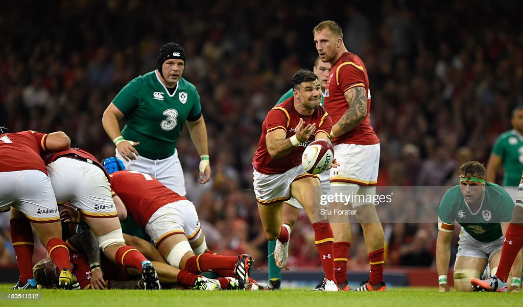 Wales player Mike Phillips in action during the Rugby World Cup warm up match between Wales and Ireland at Millennium Stadium on August 8, 2015 in Cardiff, Wales.
